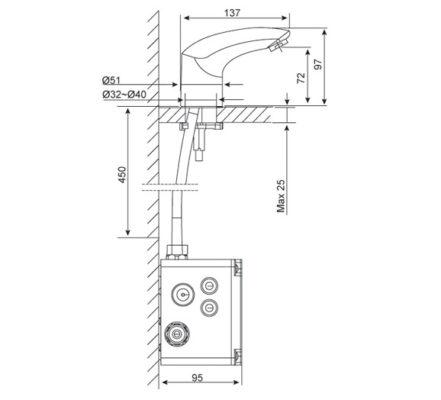 wf-8601 bản vẽ kỹ thuật vòi chậu cảm ứng american standard