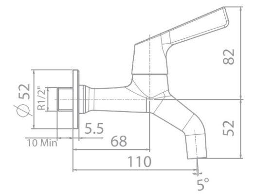 wf-t603 bản vẽ kỹ thuật vòi gắn tường american standard
