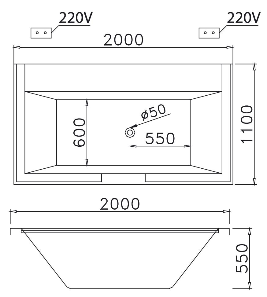 Bản vẽ bồn tắm massage xây caeasr MT7520S