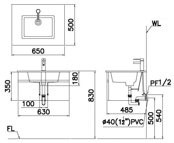 Bản vẽ kỹ thuật chậu rửa mặt LF5030 EH665V treo tường