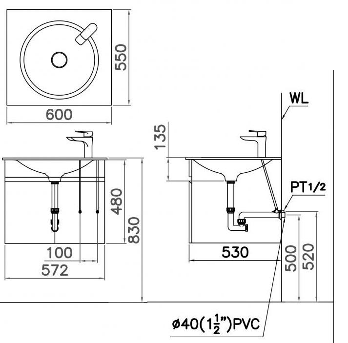 Bản vẽ kỹ thuật chậu rửa mặt LF5038 EH151VV treo tường