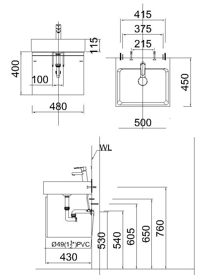 Bản vẽ kỹ thuật chậu rửa mặt LF5253 EH152TG treo tường