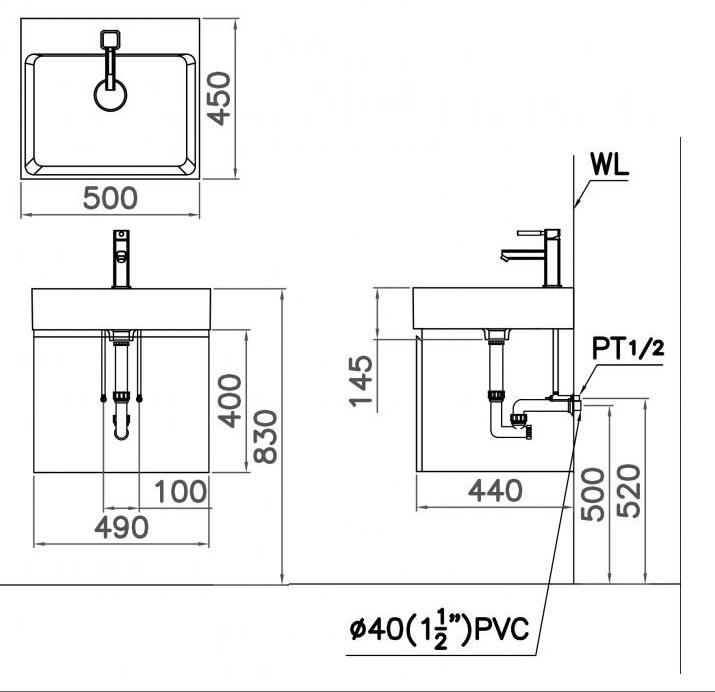 Bản vẽ kỹ thuật chậu rửa mặt LF5253 EH152V treo tường