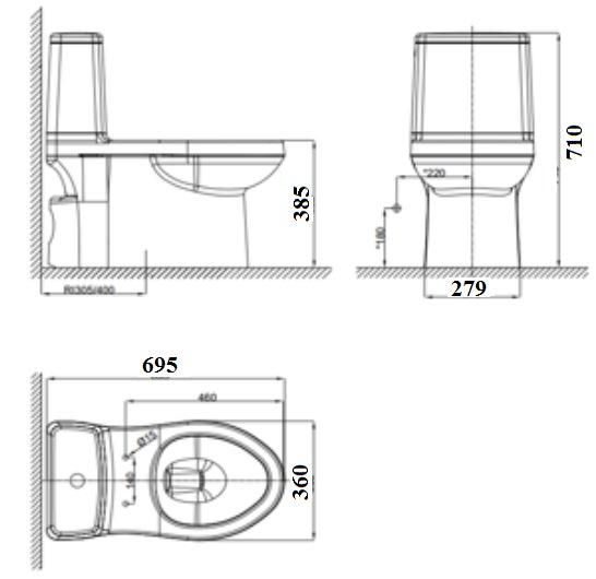 Bản vẽ bồn cầu VF-1858S American Standard