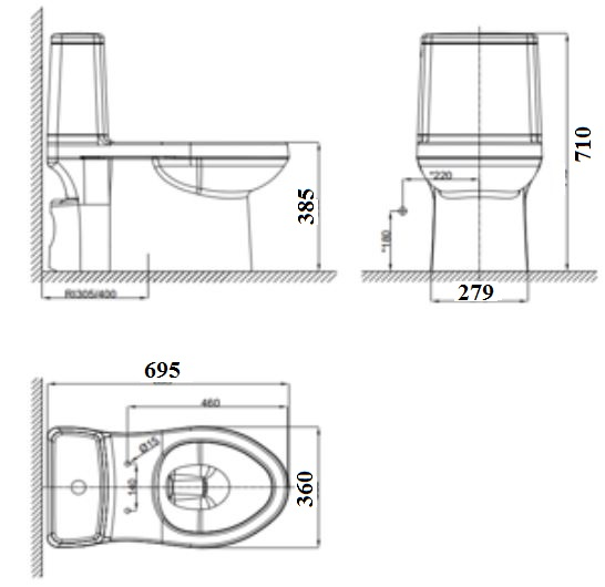 Bản vẽ bồn cầu American Standard VF-1858S3