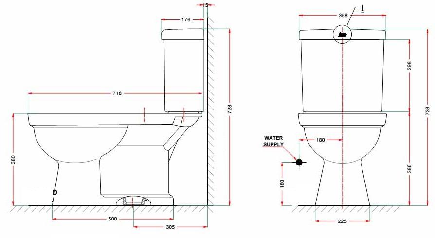 Bản vẽ bồn cầu American VF-2013 2 khối