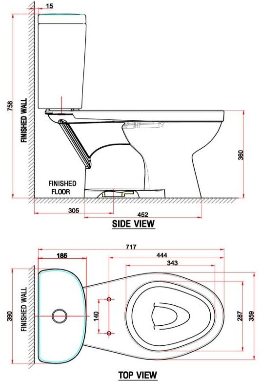 Bản vẽ bồn cầu VF-2397 American Standard