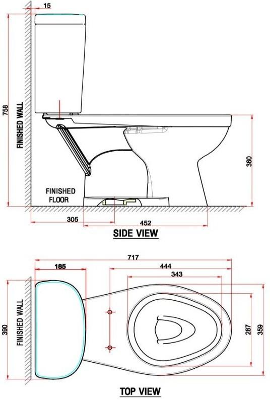 Bản vẽ bồn cầu VF-2398 American Standard