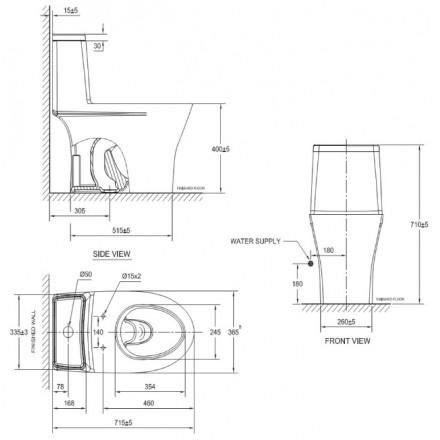 Bản vẽ bồn cầu VF-2530S