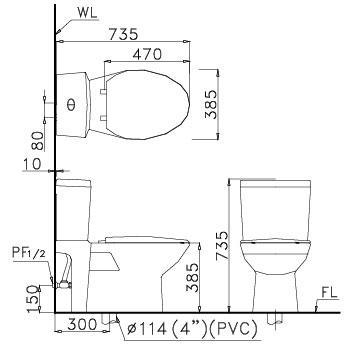 Bản vẽ bồn cầu Caesar CD1340 - Xí bệt bàn cầu vệ sinh 2 khối