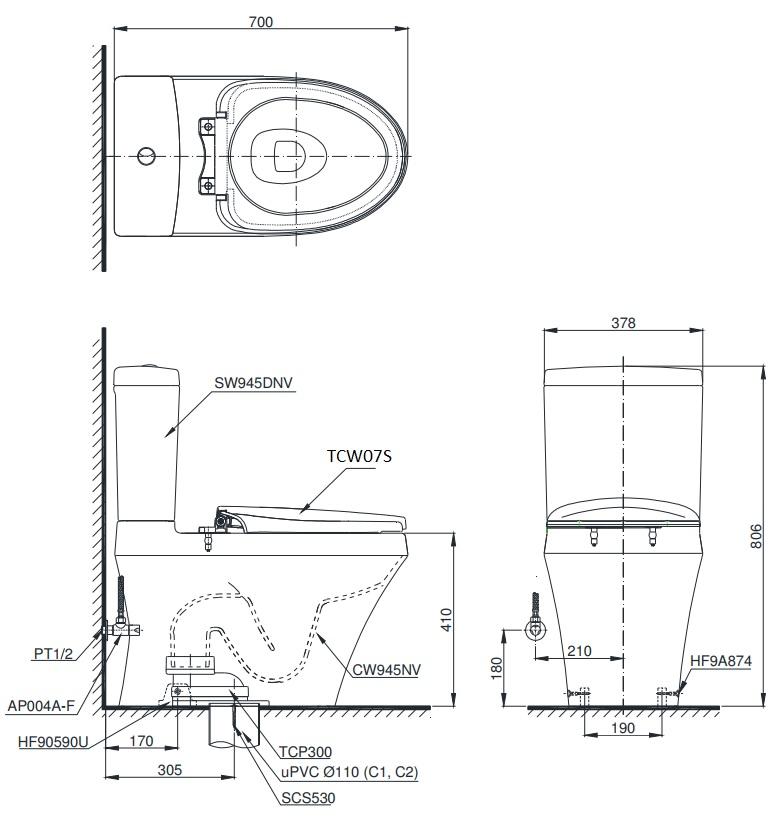 bản vẽ bồn cầu TOTO CS945DNE2 nắp rửa cơ