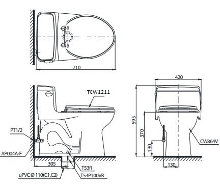 bản vẽ bồn cầu TOTO MS864E4 nắp rửa cơ
