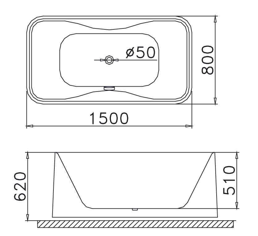 Bản vẽ kỹ thuật bồn tắm dài Caesar AT0950 1.5M