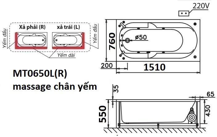 Bản vẽ kỹ thuật bồn tắm dài Caesar massage MT0650L(R) 1.5M