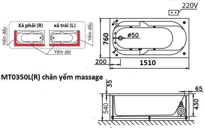 Bản vẽ kỹ thuật bồn tắm dài Caesar MT0350L(R) 1,5M