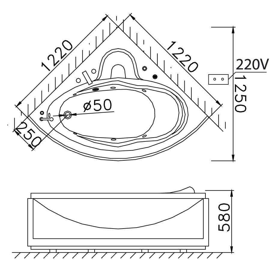 Bản vẽ kỹ thuật bồn tắm góc Caesar MT5120 massage