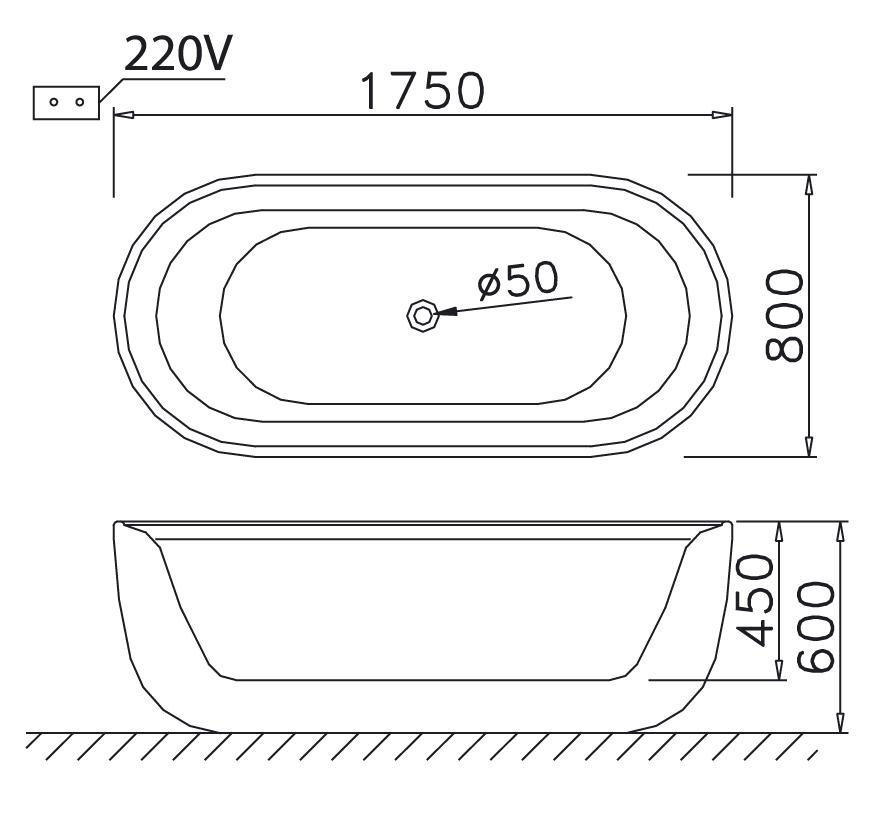 Bản vẽ bồn tắm lập thể Caeasr MT0770 massage