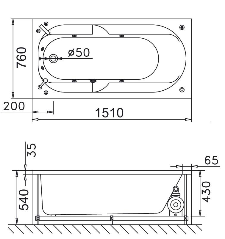 Bản vẽ kỹ thuật bồn tắm dài Caesar MT0350 1,5M
