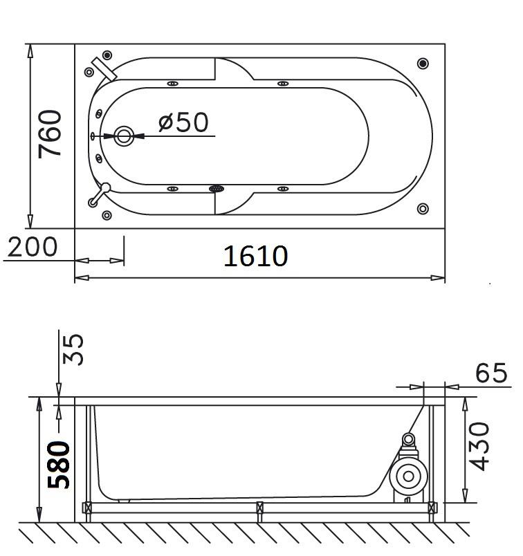 Bản vẽ kỹ thuật bồn tắm dài Caesar MT0460 1,6M