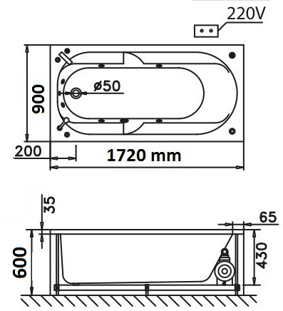 Bản vẽ kỹ thuật bồn tắm dài Caesar MT211AL(R) 1,7M