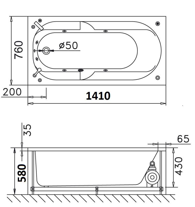 Bản vẽ kỹ thuật bồn tắm dài Caesar AT0440 1.4M