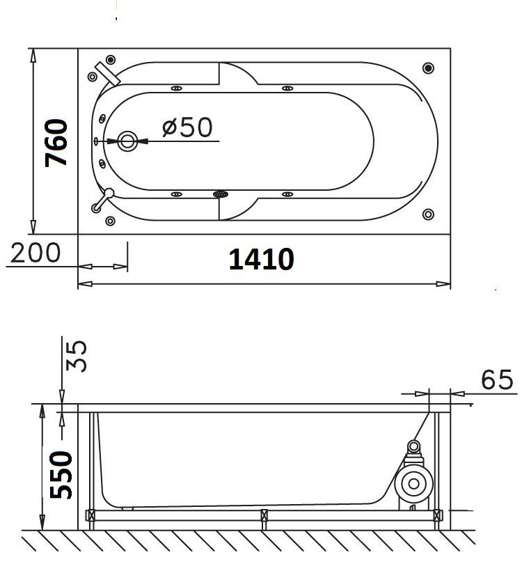 Bản vẽ kỹ thuật bồn tắm dài Caesar AT0640 1.4M