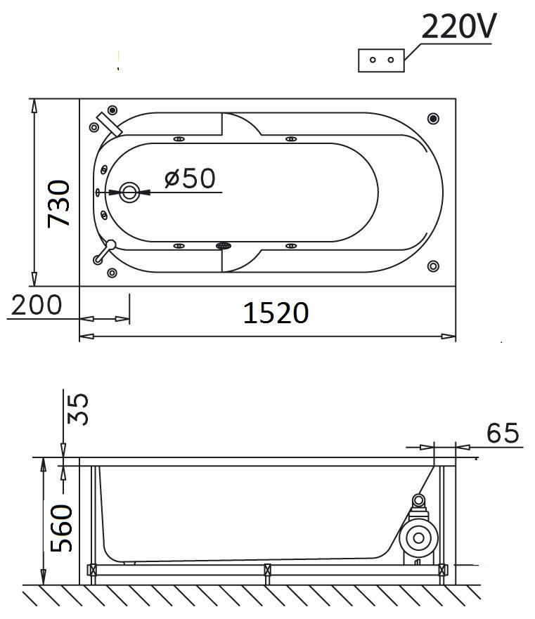Bản vẽ kỹ thuật bồn tắm dài Caesar AT0550 1.5M