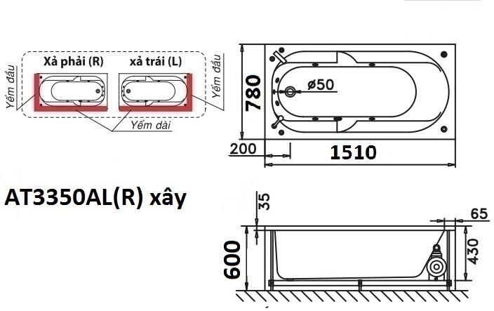 Bản vẽ kỹ thuật bồn tắm dài Caesar AT3350AL(R) 1,5M
