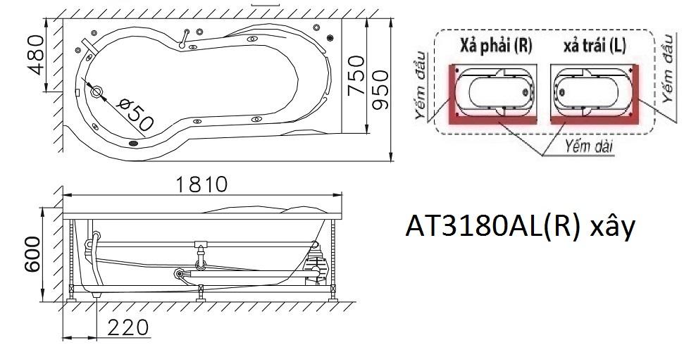 Bản vẽ kỹ thuật bồn tắm xây Caesar AT3180AL(R) 1,8M