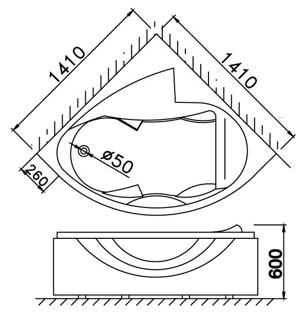 Bản vẽ kỹ thuật bồn tắm góc AT5140A