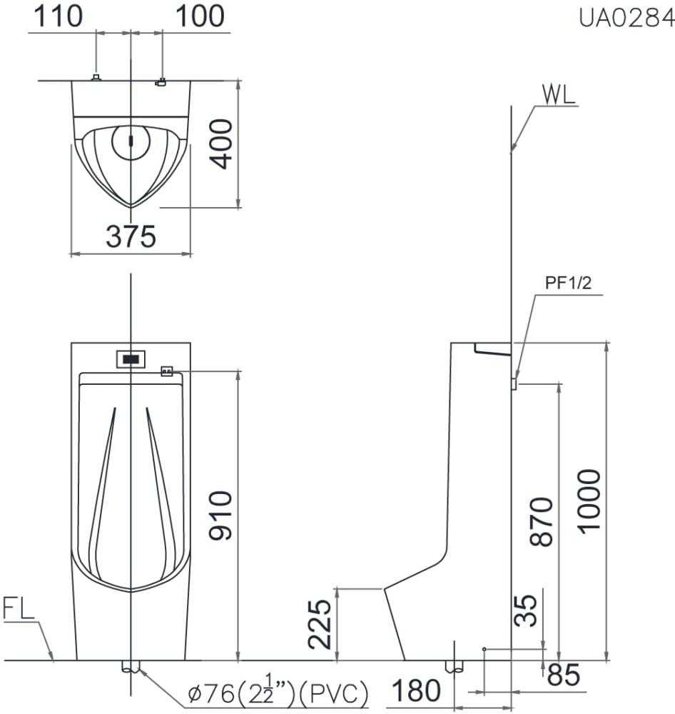 Bản vẽ kỹ thuật bệ tiểu Caesar UA0284