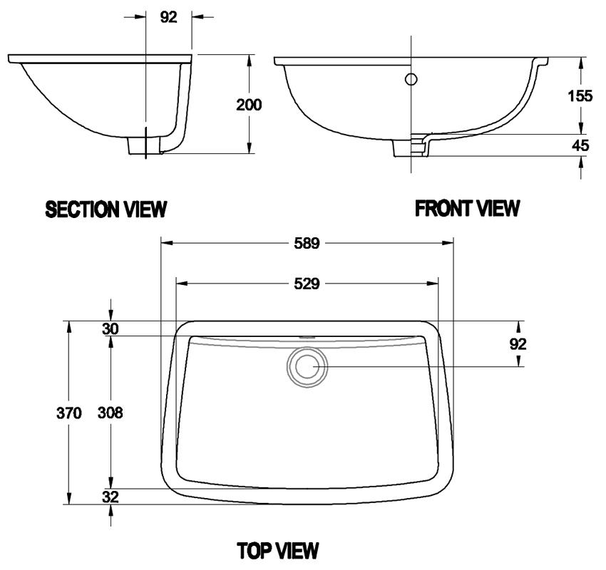 Chậu rửa mặt âm bàn American Standard WP-0418 bản vẽ kỹ thuật