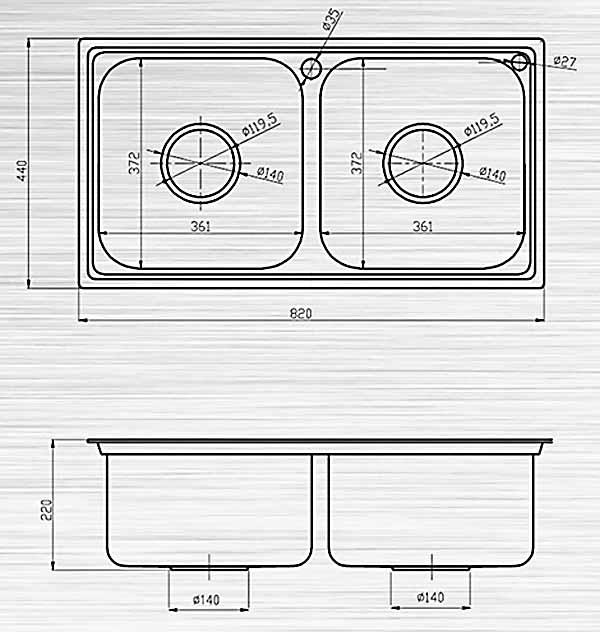 Bản vẽ kỹ thuật chậu rửa bát inox S82D Sơn Hà