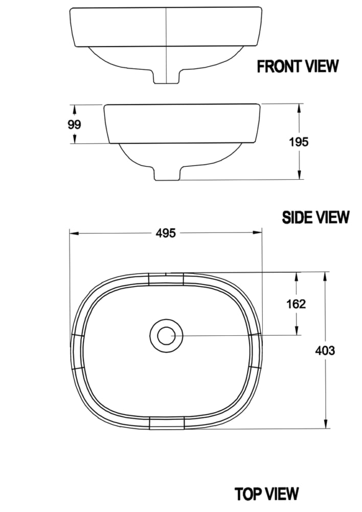 Chậu rửa mặt đặt bàn American Standard 0950-WT bản vẽ kỹ thuật