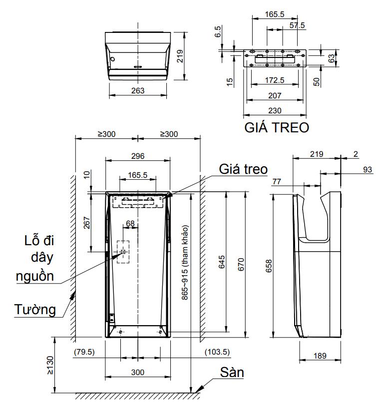 Bản vẽ kỹ thuật máy sấy tay tự động JT-SB216KSN-W-E INAX