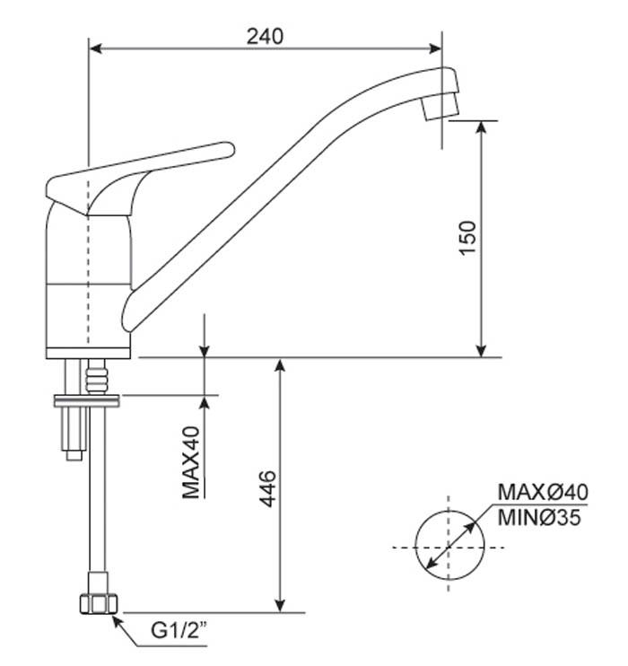 Bản vẽ kỹ thuật Vòi rửa bát nóng lạnh American Standard WF-5637