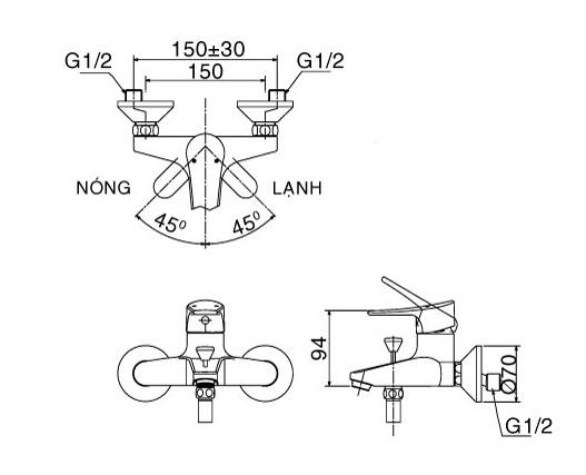 Bản vẽ kỹ thuật Vòi sen tắm nóng lạnh INAX BFV-1003S-1C