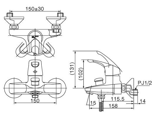 Bản vẽ kỹ thuật Vòi sen tắm nóng lạnh INAX BFV-103S