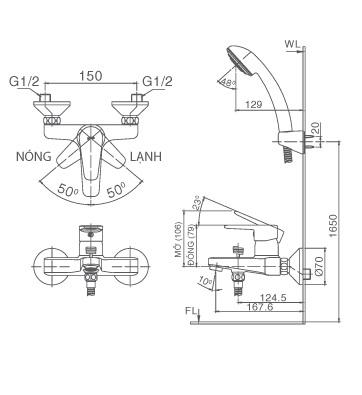 Bản vẽ kỹ thuật Vòi sen tắm nóng lạnh INAX BFV-1203S-4C