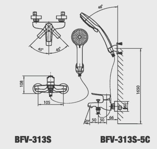 Bản vẽ kỹ thuật Vòi sen tắm nóng lạnh INAX BFV-313S-5C