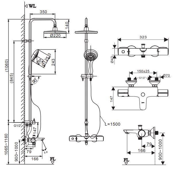 Bản vẽ vòi sen cây INAX BFV-3415T nóng lạnh