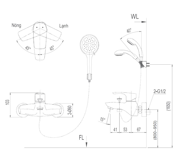 Bản vẽ kỹ thuật Vòi sen tắm nóng lạnh INAX BFV-213S-3C