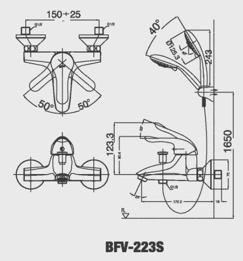 Bản vẽ kỹ thuật Vòi sen tắm nóng lạnh INAX BFV-223S