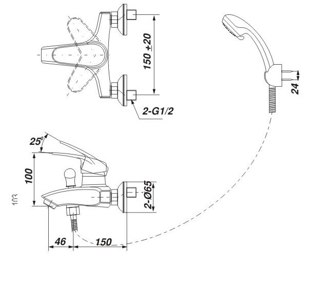 Bản vẽ kỹ thuật Vòi sen tắm nóng lạnh INAX BFV-283S-3C