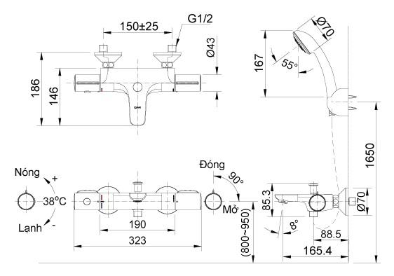 Bản vẽ vòi sen nhiệt độ INAX BFV 3413T 3C