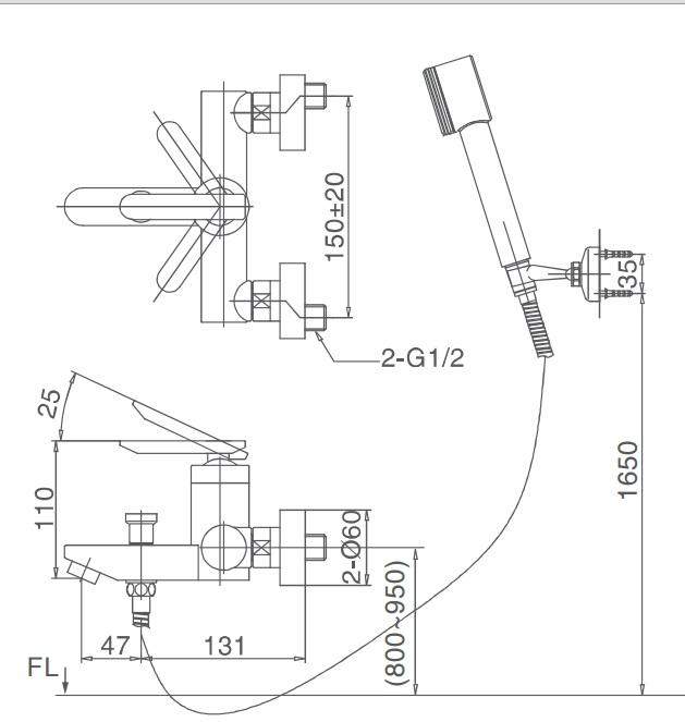 Bản vẽ kỹ thuật Vòi sen tắm nóng lạnh INAX BFV-4000S-5C