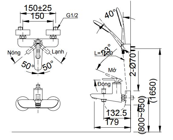 Bản vẽ kỹ thuật Vòi sen tắm nóng lạnh INAX BFV-4103S-5C
