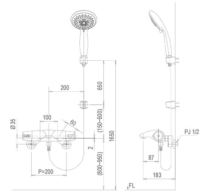 Bản vẽ kỹ thuật Vòi sen tắm nóng lạnh INAX BFV-5103T-5C