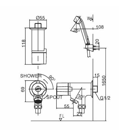 Bản vẽ kỹ thuật vòi sen tắm lạnh INAX BFV-10-1C