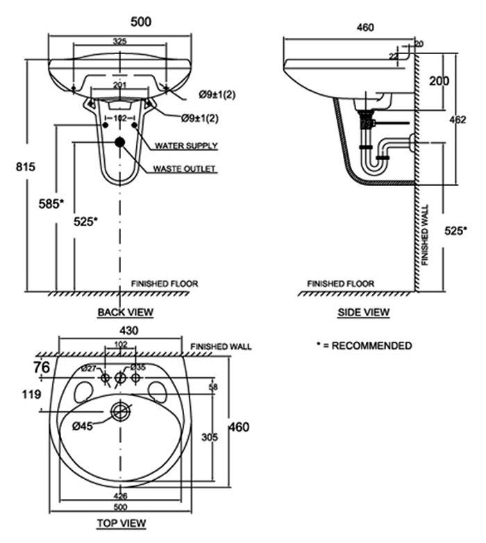 Chậu rửa mặt treo tường American Standard VF-0969/ VF-0912 bản vẽ kỹ thuật